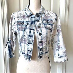 HIGHWAY JEANS Whitewashed Cropped Floral Jacket—SM